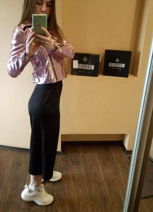 Крутая куртка металлик розовая от missguided7 фото
