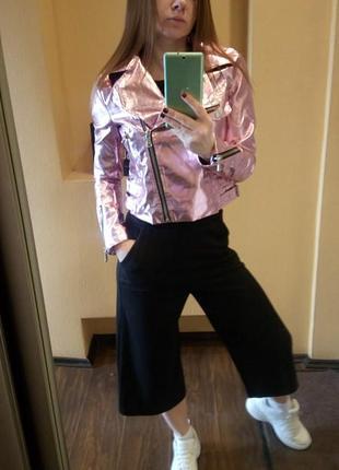 Крутая куртка металлик розовая от missguided10 фото