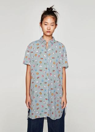 Платье-рубашка оверсайз рубашка с карманами