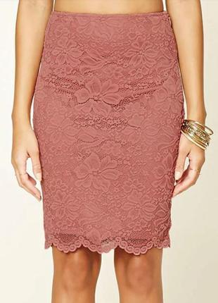 Forever21- кружевная юбка-миди, карандаш, пепельно-розовая - размер l-m, 12-10, 48-465 фото