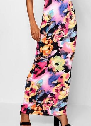 Яркая узкая юбка с цветным принтом, макси, летняя, оригинал boohoo s-m, 8-10, 44-46