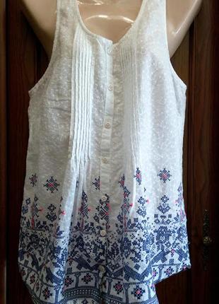 Батистовая хлопковая длинная майка топ блузка с орнаментом этно