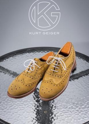 Оксфорды kurt geiger, англия 41 мужские туфли кожаные броги замш