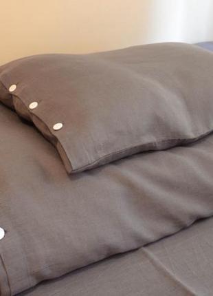 Льняное постельное белье с качественного итальянского льна графитового цвета + екосумка