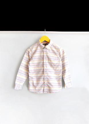 Льняная рубашка в полоску m&s на 5-6 лет / 116 см