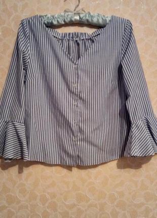 Блуза в полоску с рукавами-воланами atmosphere