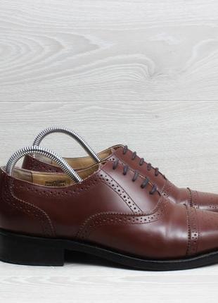 Кожаные мужские туфли samuel windsor, размер 41.5 (броги коричневые)
