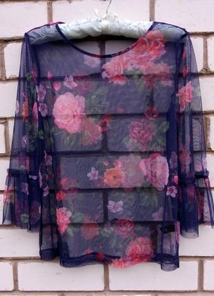 Прозрачная блуза в цветы tu блуза-сетка