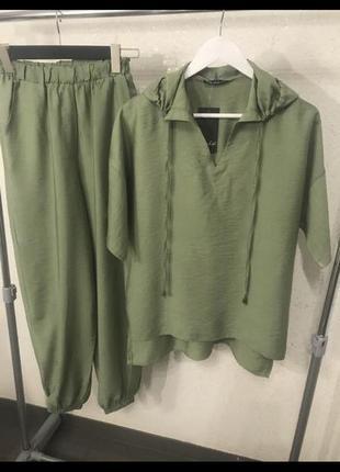 Лёгкий костюм оливковый, беж, терракотовый цвет