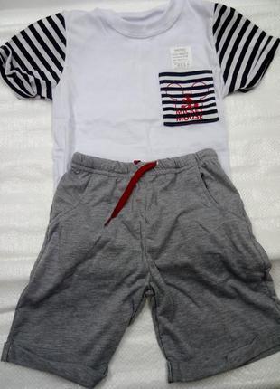 Комплект на мальчика, полосатая футболка, серые шорты