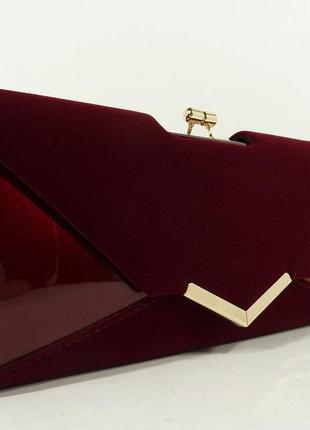 Клатч женский комбинированный лак, велюр бордовый rose heart