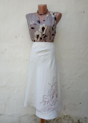 Льняная юбка макси а силуэт с вышевкой цветок,кэжуал,колокол.