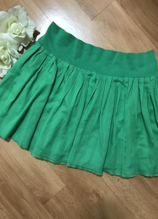Летняя мини юбочка солнце зеленого цвета h&m