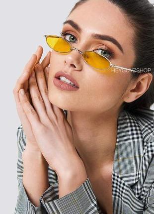 Солнцезащитные очки желтые сонцезахисні окуляри жовті стеклянные узкие овальные