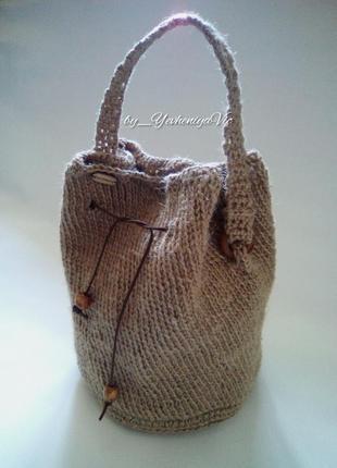 Сумка-торба, сумка мешок джутовая вязаная