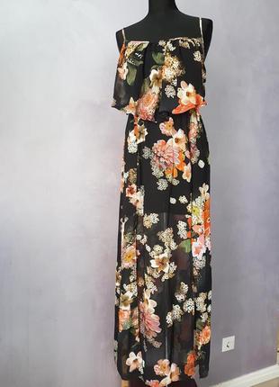 Цветочное макси платье с воланом