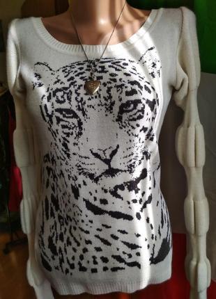 Шерстяная кофта леопард