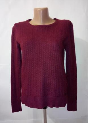 Шерстяной бордовый свитер джемпер пуловер superdry uk 10/38/.s