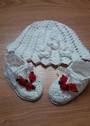 Вязанная шапочка и пинетки (летняя)