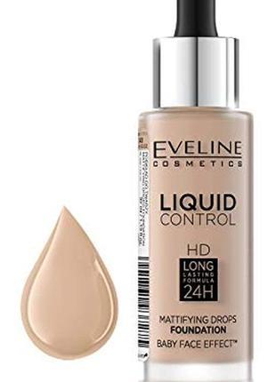 Тональная основа eveline cosmetics - liquid control hd mattifying drops foundation
