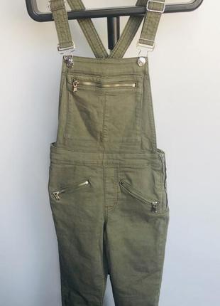 Новый женский джинсовый комбинезон цвета хаки h&m3 фото