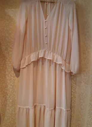 Натуральная нюдовая накидка платье  р.l-xl