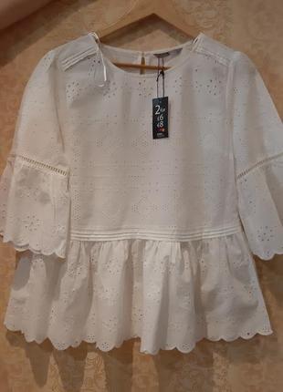 Роскошная натуральная кружевная белая блуза р. m-l