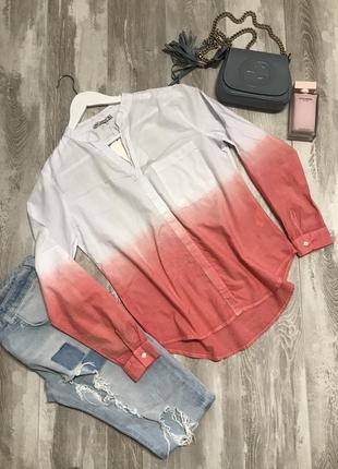Хлопковая рубашка 👚 бело- розовая