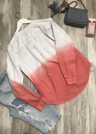 Хлопковая рубашка 👚 бело- розовая2 фото