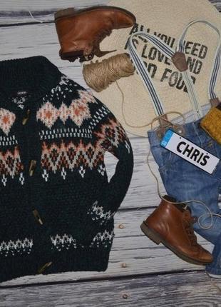 5 - 6 лет 116 см обалденный модный свитер джемпер мальчику орнамент