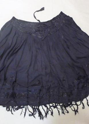 Легкая вискозная натуральная юбка c вышивкой м бахромой made in india