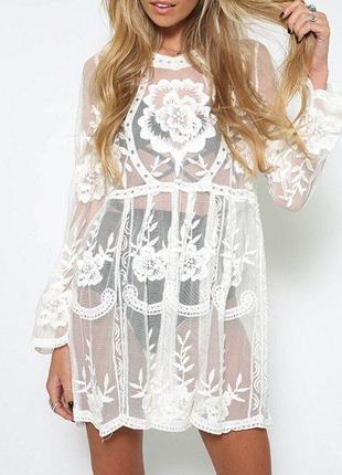 Шифоновое  пляжное   платье -туника