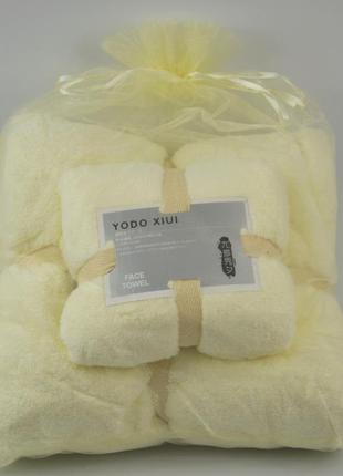 Комплект полотенец микрофибра молочный