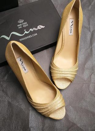 Nina оригинал золотистые туфли на шпильке бренд из сша2 фото