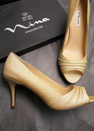 Nina оригинал золотистые туфли на шпильке бренд из сша3 фото