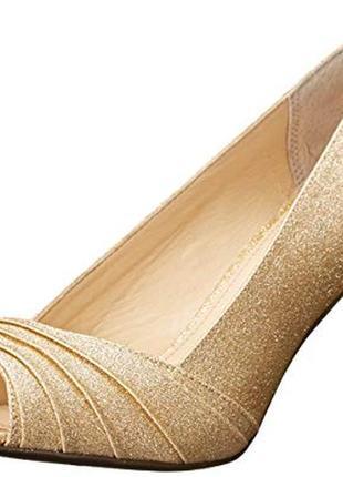 Nina оригинал золотистые туфли на шпильке бренд из сша6 фото