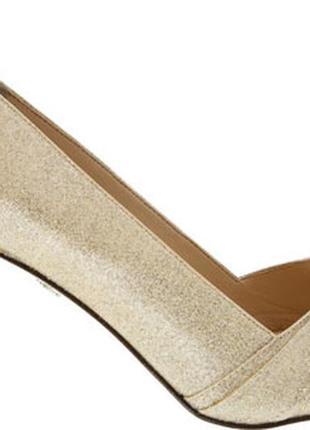 Nina оригинал золотистые туфли на шпильке бренд из сша7 фото