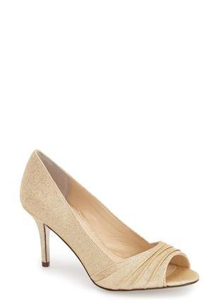 Nina оригинал золотистые туфли на шпильке бренд из сша8 фото
