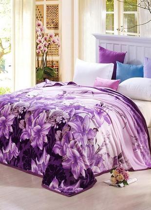 Покрывало- плед велсофт 200х210 фиолетовые цветы