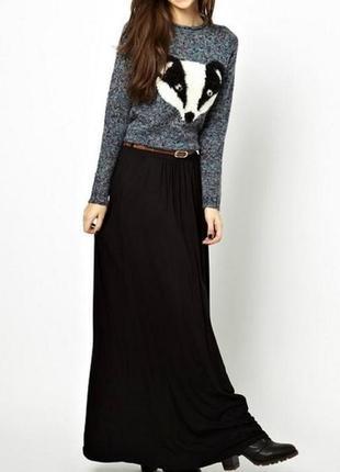 Вискозная юбка в пол/макси чёрного цвета - vero moda