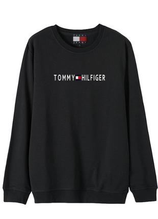 Чёрный коттоновый свитшот tommy hilfiger
