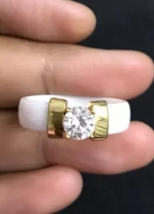 Керамическое кольцо белое колечко золото