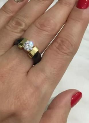 Кольцо керамическое черное колечко золото