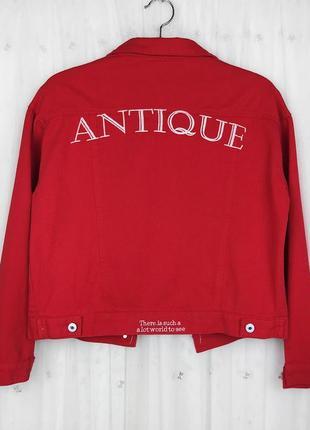 Красная яркая джинсовая куртка с вышивкой zaful