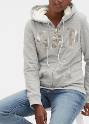 Бомбезная толстовка gap мех шерпа с капюшоном куртка на молнии