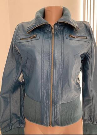Кожаный бомбер куртка очень глубокого сине-зелёного цвета из экокожи сша с м
