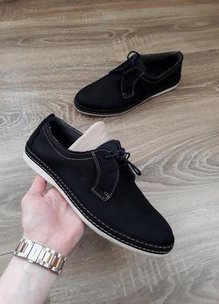 Кожаные (нубук) туфли на шнурках полуботинки lumberjack