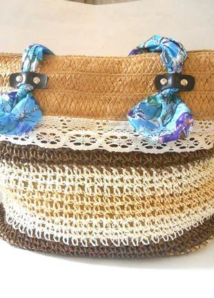 Легкая  плетённая пляжная сумочка / сумка