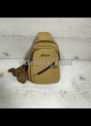 Мужская сумка через плечо  687 коричневая