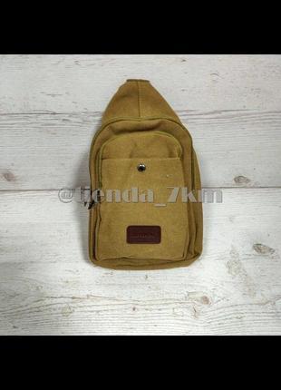 Мужская сумка через плечо 9006 коричневая (хаки)